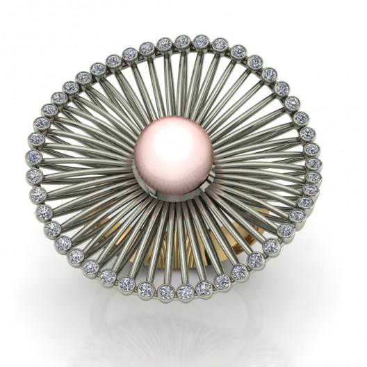 Złoty pierścionek zaręczynowy z perłą i brylantami 0,69ct PZ-171