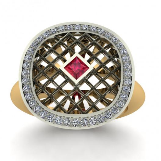 Złoty pierścionek zaręczynowy z rubinem i brylantami 0,2ct PZ-156