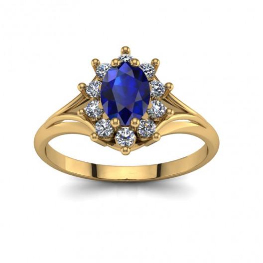 Złoty pierścionek zaręczynowy z szafirem i brylantami 0,3ct PZ-120