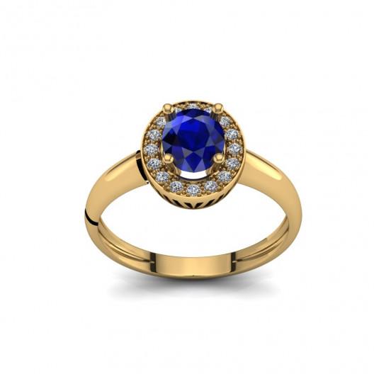 Złoty pierścionek zaręczynowy z szafirem i cyrkoniami PZ-090C