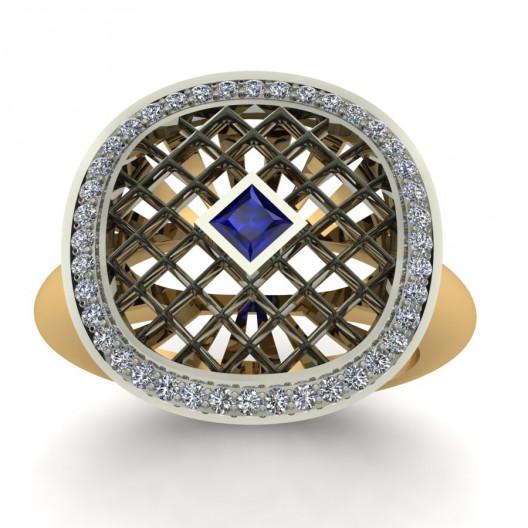 Złoty pierścionek zaręczynowy z szafirem i cyrkoniami PZ-156C
