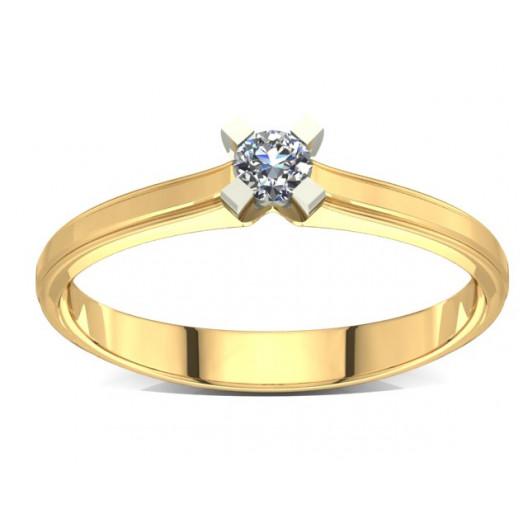 Złoty pierścionek zaręczynowy z cyrkoniami PZ-002C