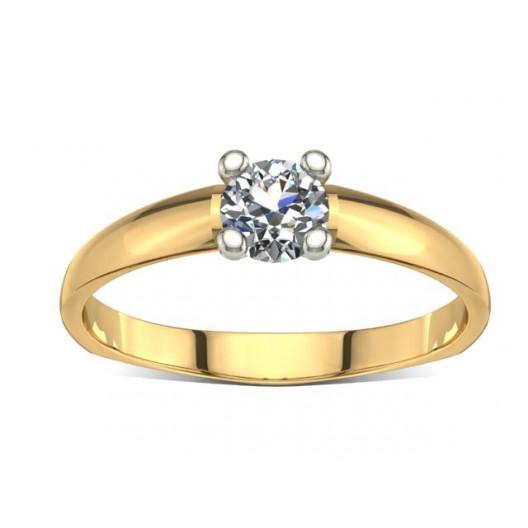 Złoty pierścionek zaręczynowy z cyrkonią PZ-007C