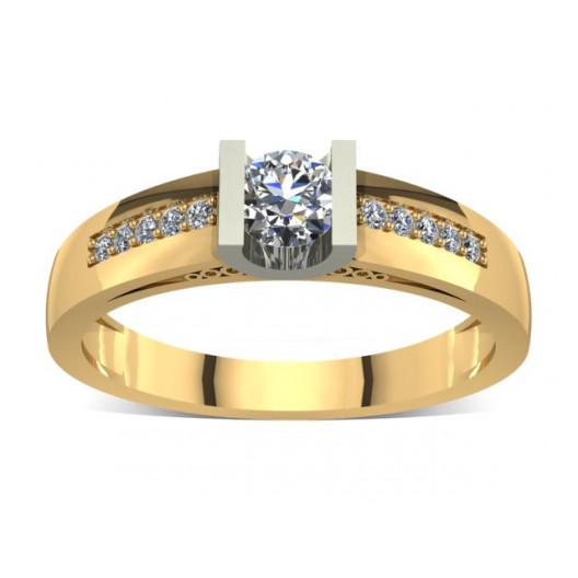 Złoty pierścionek zaręczynowy z cyrkoniami PZ-013C