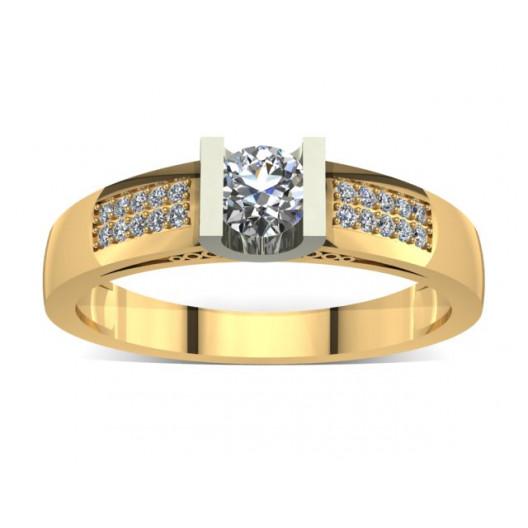 Złoty pierścionek zaręczynowy z cyrkoniami PZ-014C