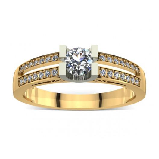 Złoty pierścionek zaręczynowy z cyrkoniami PZ-015C