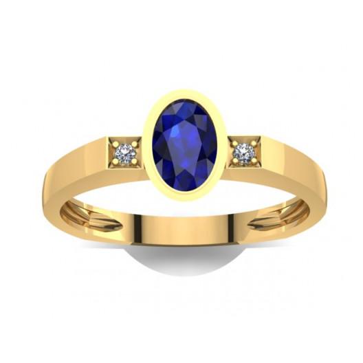 Złoty pierścionek zaręczynowy z szafirem i brylantami 0,01ct PZ-024
