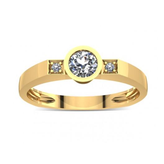 Złoty pierścionek zaręczynowy z cyrkoniami PZ-026C