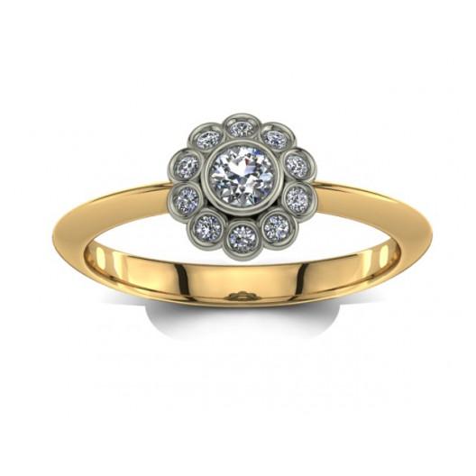 Złoty pierścionek zaręczynowy z cyrkoniami PZ-029C
