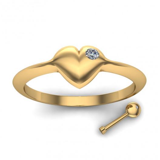 Złoty pierścionek zaręczynowy z brylantem 0,003ct PZ-SERCE