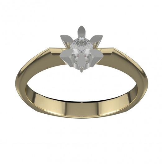 Złoty pierścionek zaręczynowy z cyrkoniami PZ-020C