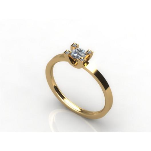 Złoty pierścionek zaręczynowy z brylantami 0,284ct PZ-054