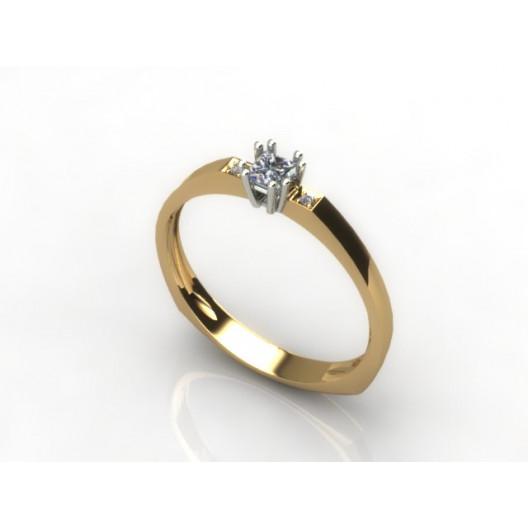 Złoty pierścionek zaręczynowy z cyrkoniami PZ-023C